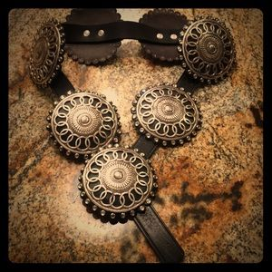 Accessories - Black with silver crystal and leather belt